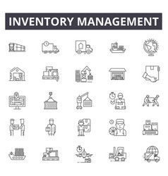 Inventory management line icons signs set vector