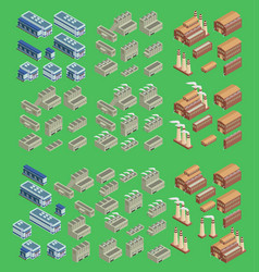 isometric factory icon set which includes vector image
