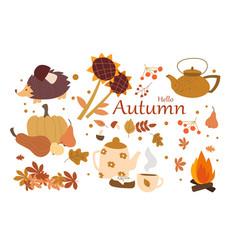 Items that symbolize autumn vector