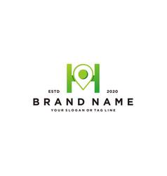 Letter h map pin logo design vector
