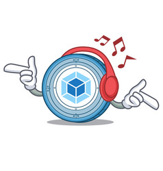 listening music webpack coin mascot cartoon vector image