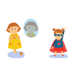 little girl dressing wearing superhero costume vector image