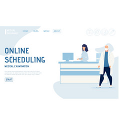 Medical examination online scheduling landing page vector