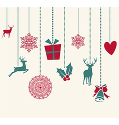 Merry Christmas hanging decoration elements vector