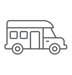 motorhome thin line icon transportation and auto vector image