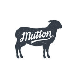 mutton sheep lamb lettering vintage lettering vector image