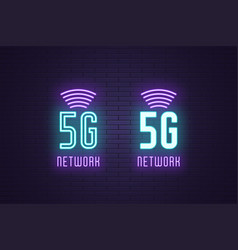 Neon sign set 5g network mobile technology vector