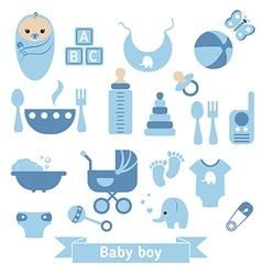 Newborn baby icons set vector