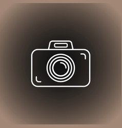 outline photo camera icon on blackdark gray and vector image