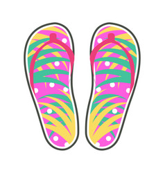 pair of colorful flip-flops flat icon vector image