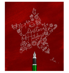 Pen line drawing christmas tree toy star red vector