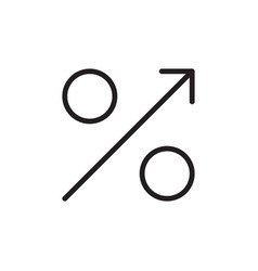 Percent growth arrow icon gdp market business vector