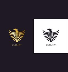 phoenix gold shield logo stylized golden flying vector image
