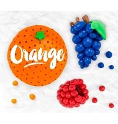 Plasticine fruits orange vector image