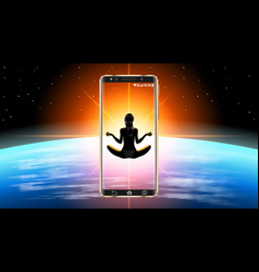 Realistic smartphone in outer space silhouette of vector