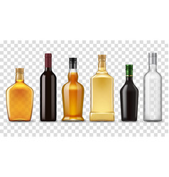 realistic whiskey vodka rum and wine bottles vector image