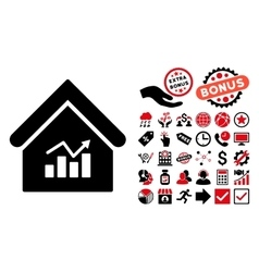 Realty Charts Flat Icon with Bonus vector