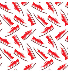 Red textile sneakers with white laces seamless vector
