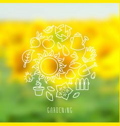 round gardening theme vector image