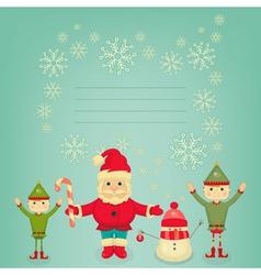 Santa Claus Christmas Elf and Snowman vector image