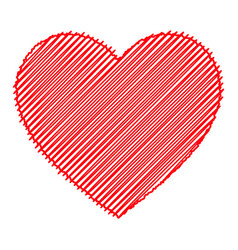 scribbled red heart isolated vector image