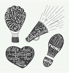 Set adventure lettering for greeting cards vector