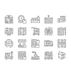 Set logistics and delivery line icons vector