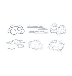 set monochrome clouds different vector image