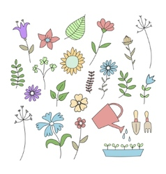 Set of doodle flowers and plants vector