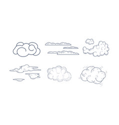 Set of monochrome clouds of different vector