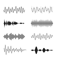 set sound waves analog and digital line vector image