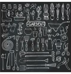 Spring garden doodle setToolsplantsChalkboard vector image
