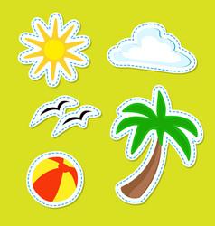 Summer stripped stickers summer ball palm sun vector