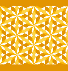 sunny yellow floral geometric seamless pattern vector image