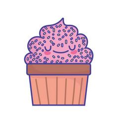 Sweet cupcake with sprinkles grainy food cute flat vector