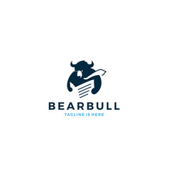 title bear bull reading newspaper wearing tie vector image