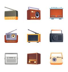 Tuner radio icons set cartoon style vector