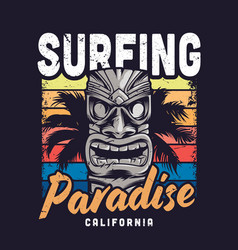 Vintage colorful surfing paradise template vector