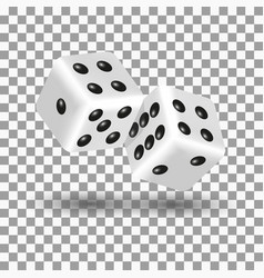 white dice in 3d style vector image