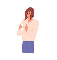 Young adult woman holding antibacterial spray vector