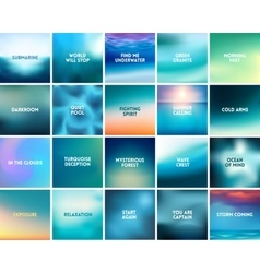 BIG set of 20 square blurred nature turquoise vector image vector image