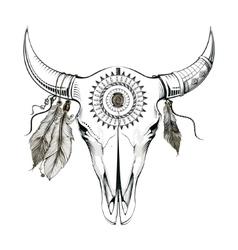 bull skull Ethnic style vector image