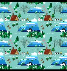 Christmas theme landscape seamless pattern vector image