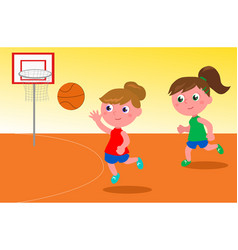 girls playing basketball vector image vector image