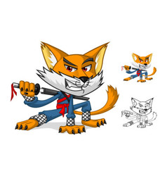 Ninja Cat Mascot Cartoon Character vector image