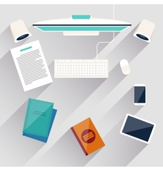 Businessmans workplace with computer vector image