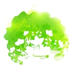 Green watercolor stain with white foliage vector image