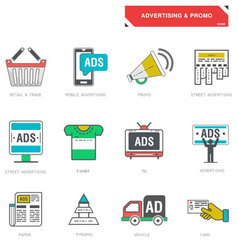 Line icons of advertising marketing product vector image