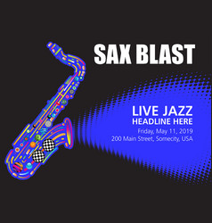 colorful jazz sax poster with space for text vector image vector image