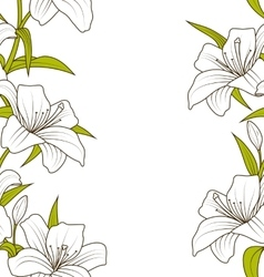 Cute Ornamental Seamless Texture with Lily Flowers vector image vector image